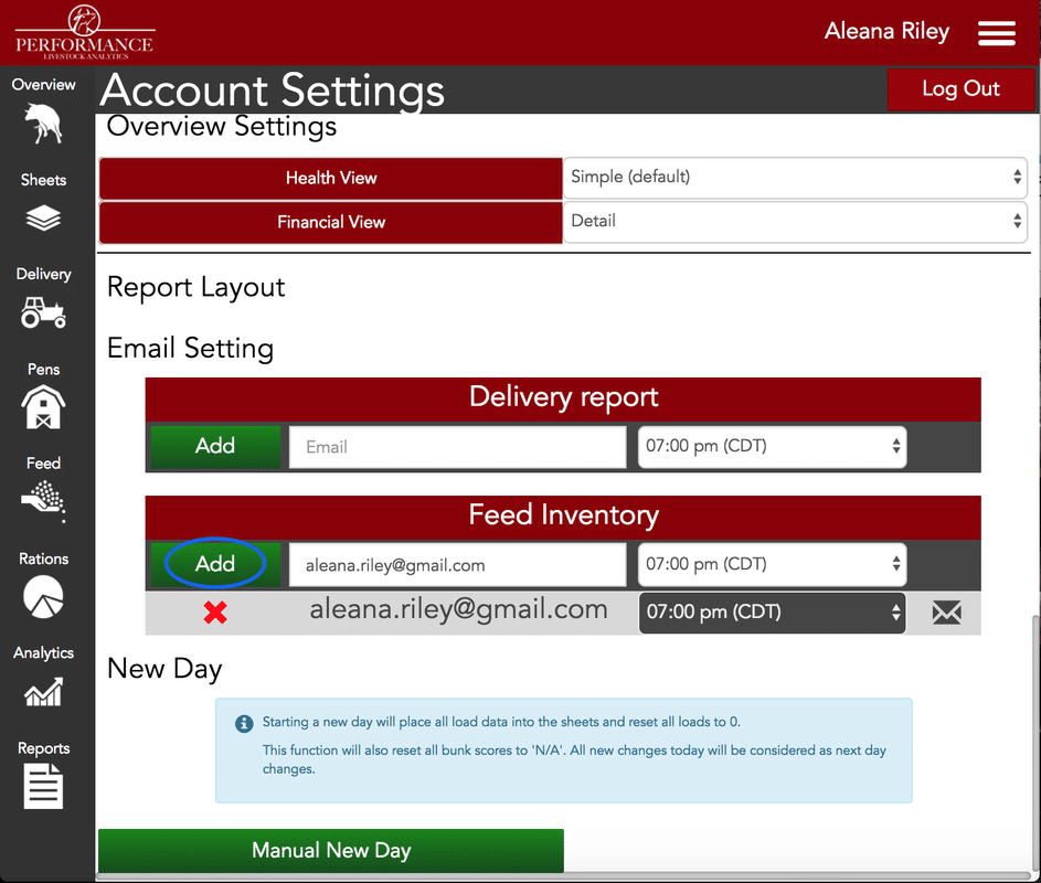 Setting Feed Inventory Alerts