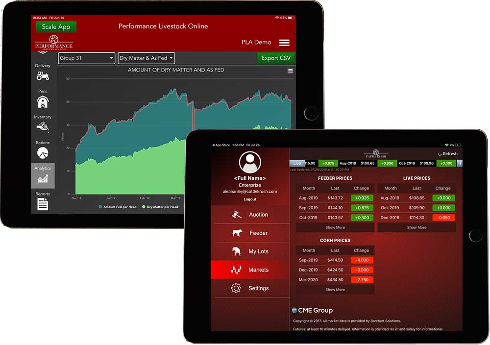 iPad with Performance Beef and Cattle Krush apps