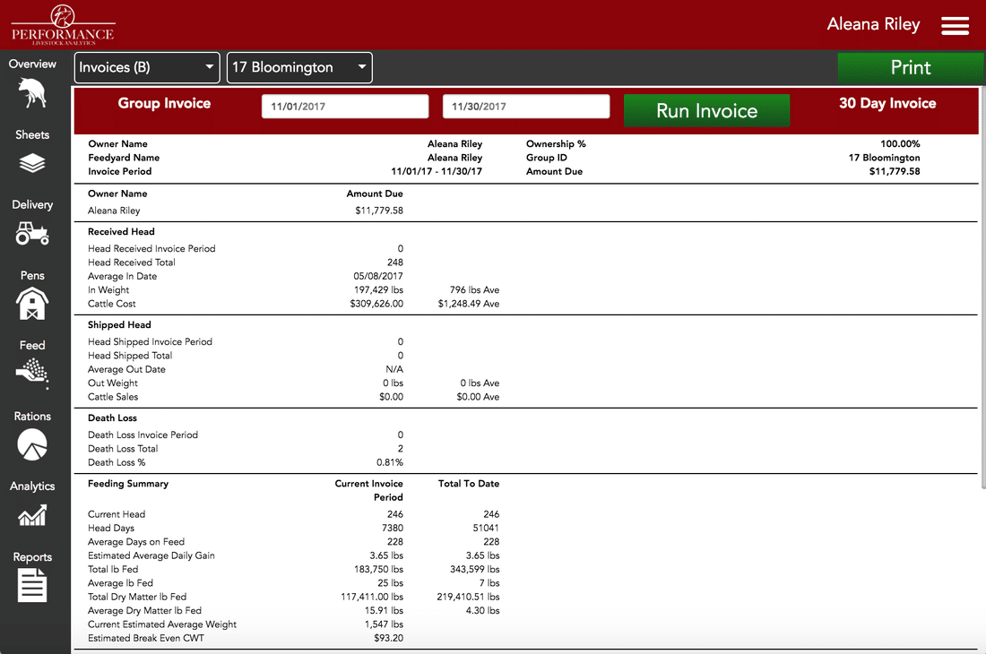 Running Detailed Reports in Performance Beef