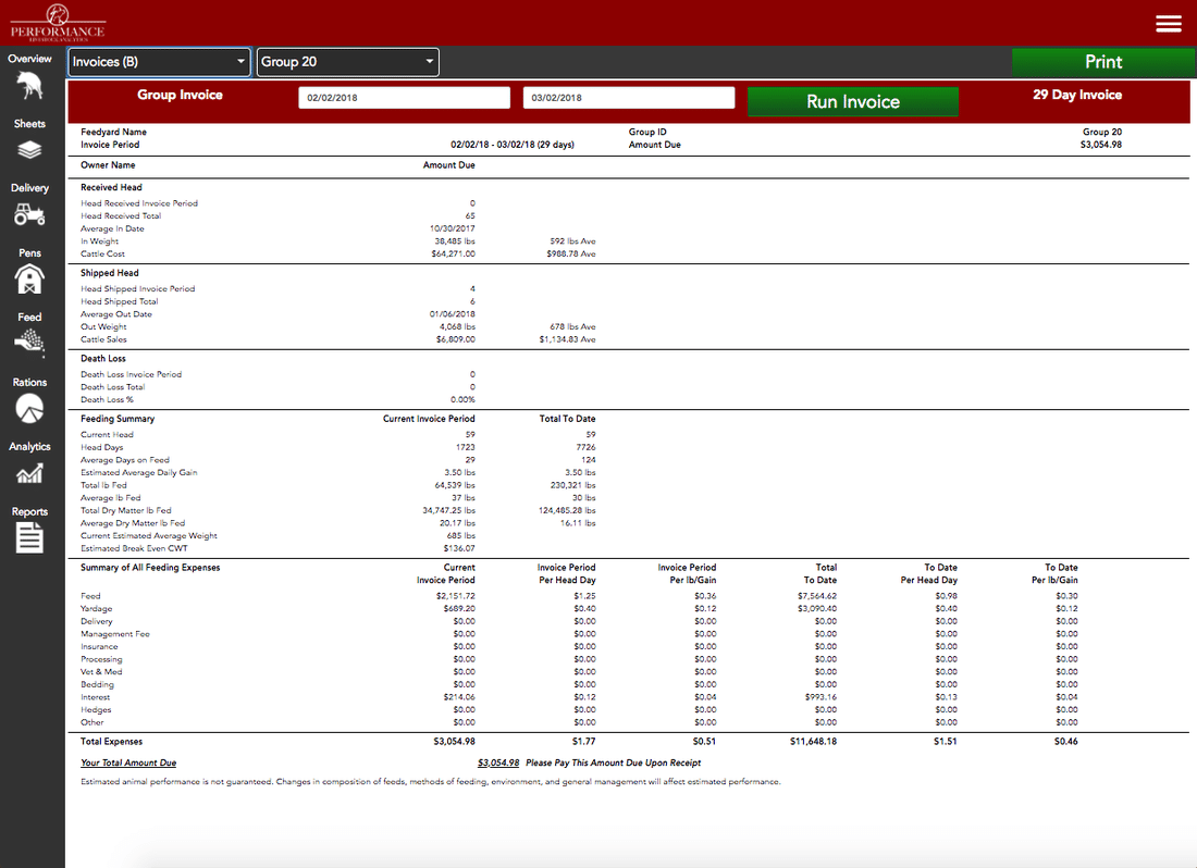 Performance Beef Real Time Invoice (B)