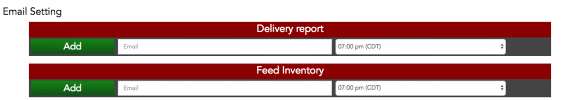 Performance Beef Delivery Report Setting