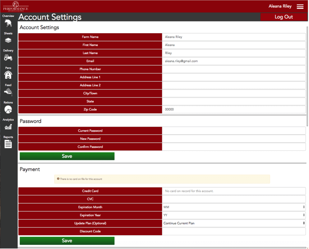 Performance Beef Account Settings